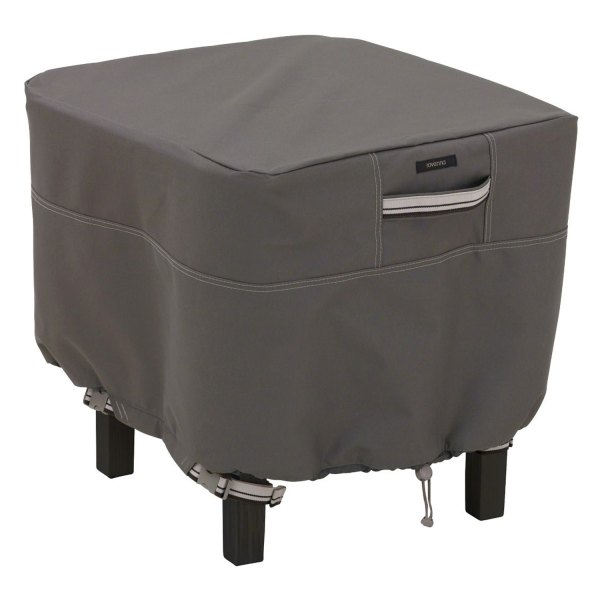 "Classic Accessories® - Ravenna™ Water-Resistant Square Dark Taupe Patio Ottoman/Table Cover (21""L x 21""W x 17""H)"