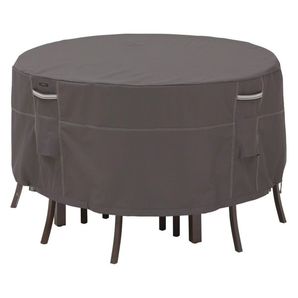 """Classic Accessories® - Ravenna™ Water-Resistant Round Dark Taupe Patio Table & Chair Set Cover (60""""Dia x 23""""H)"""