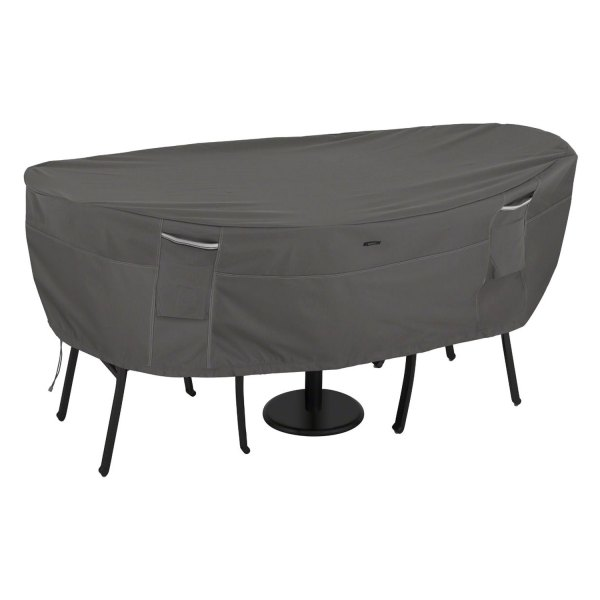 """Classic Accessories® - Ravenna™ Water-Resistant Rectangular Dark Taupe Bistro Patio Table & Chair Set Cover (80""""L x 40""""Dia Table x 24""""H)"""
