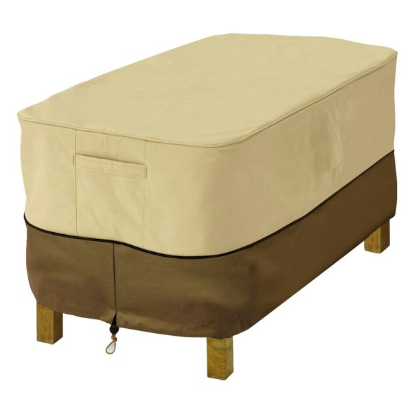 "Classic Accessories® - Veranda™ Rectangular Pebble Water-Resistant Patio Ottoman/Side Table Cover (32""L x 22""W x 17""H)"