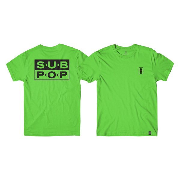 Girl Skateboards 4tgir0splg1s0gk Men S Sub Pop Logo Small Green Black T Shirt Recreationid Com