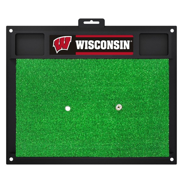 FanMats® - Wisconsin University Logo on Golf Hitting Mat