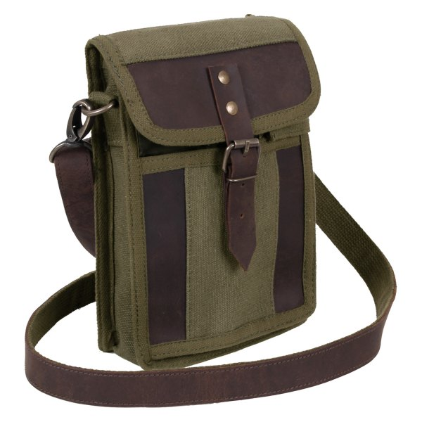 """Rothco® - 8.5"""" x 6.25"""" x 2"""" Olive Drab Canvas Travel Messenger Bag with Leather Accents"""