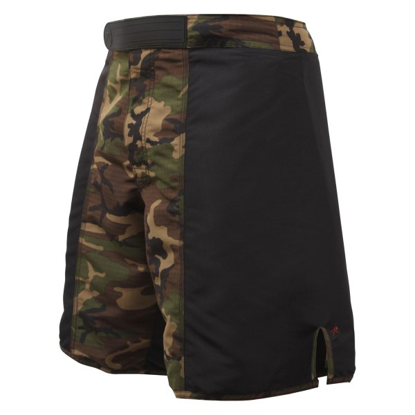 "Rothco® - 36"" Black/Woodland Camo Men's MMA Fighting Shorts"