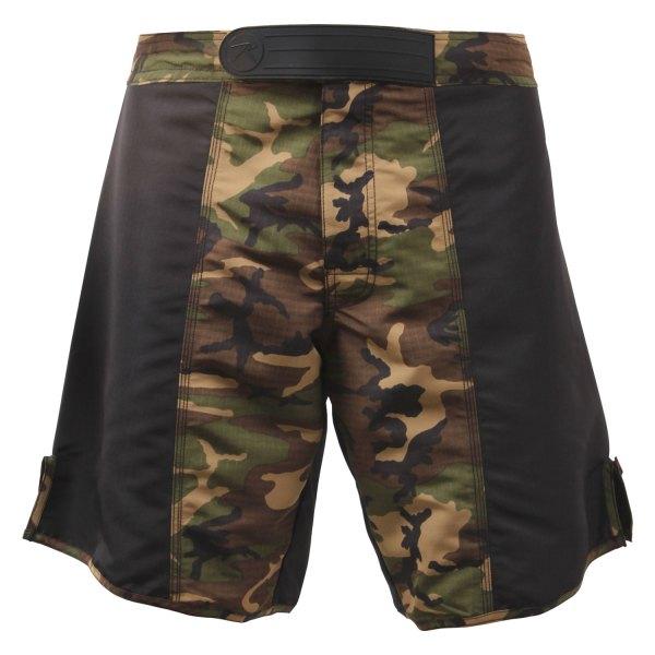 """Rothco® - 50"""" Black/Woodland Camo Men's MMA Fighting Shorts"""