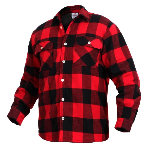 Rothco® - Men's Medium Red Fleece Lined Plaid Flannel Long Sleeve Shirt
