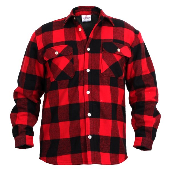 Rothco® - Men's XX-Large Red Fleece Lined Plaid Flannel Long Sleeve Shirt