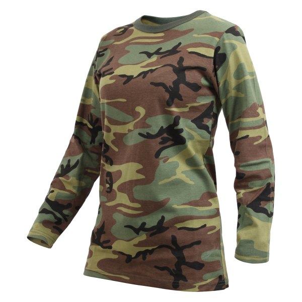 Rothco® - X-Small Woodland Camo Women's Long Sleeve T-Shirt