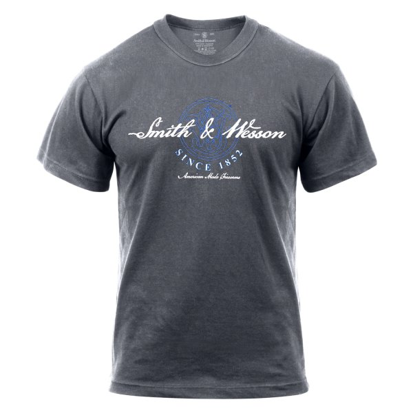 "Rothco® - ""Smith & Wesson, American Made Firearms"" Small Charcoal Gray Men's T-Shirt"