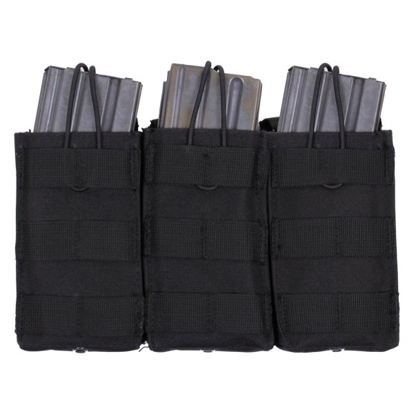 "Rothco® - 9.25"" x 5.5"" Black MOLLE Open Top Triple Mag Tactical Pouch"