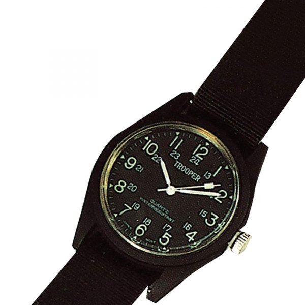 Rothco® - Field Round Black Stainless Steel Watch with Black Band