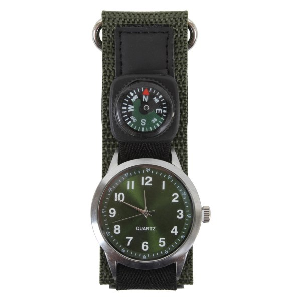 Rothco® - Olive Drab Round Silver Stainless Steel Watch with Green Nylon Band