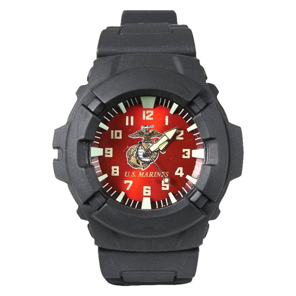 Rothco® - Aquaforce™ U.S. Marines Round Black Polymer Watch with Black rubber Band