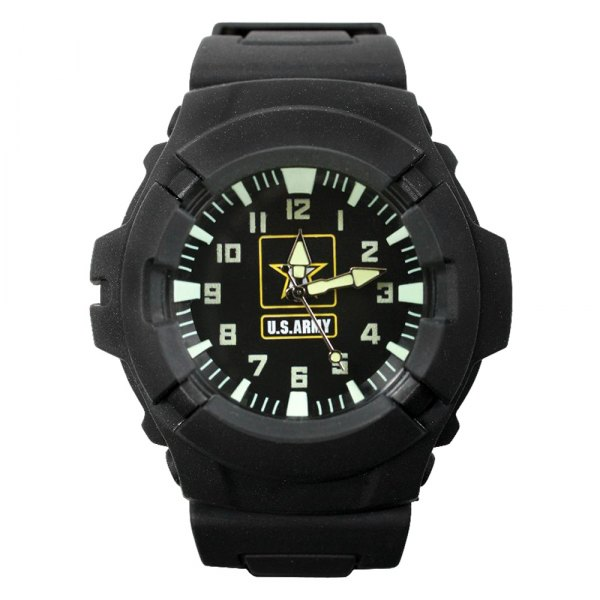 Rothco® - Aquaforce™ U.S. Army Round Black Polymer Watch with Black rubber Band