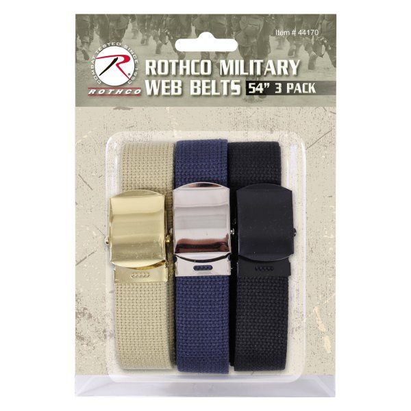 """Rothco® - 3-Piece Military 54"""" Assorted Colors Web Belts Pack"""