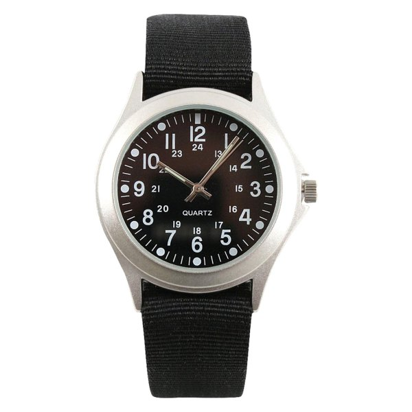 Rothco® - Military Style Round Silver Stainless Steel Watch with Black Nylon Band