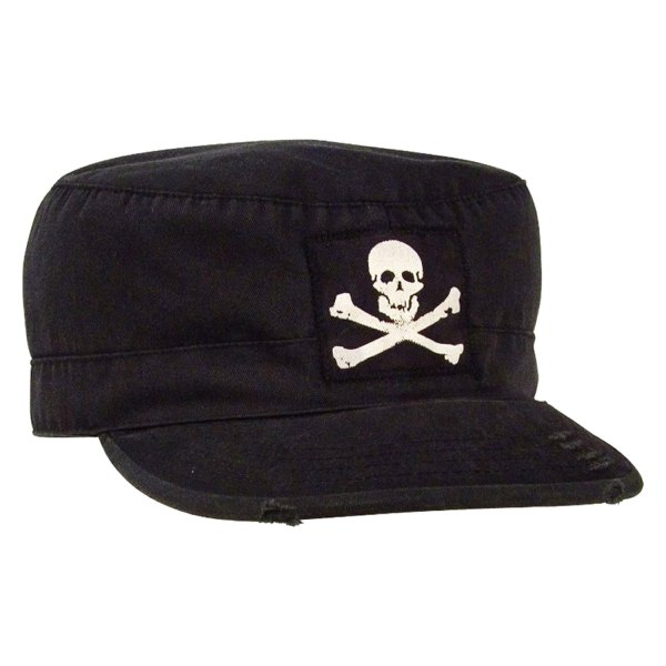 Rothco® - Vintage Military Small Black Fatigue Cap with Jolly Roger