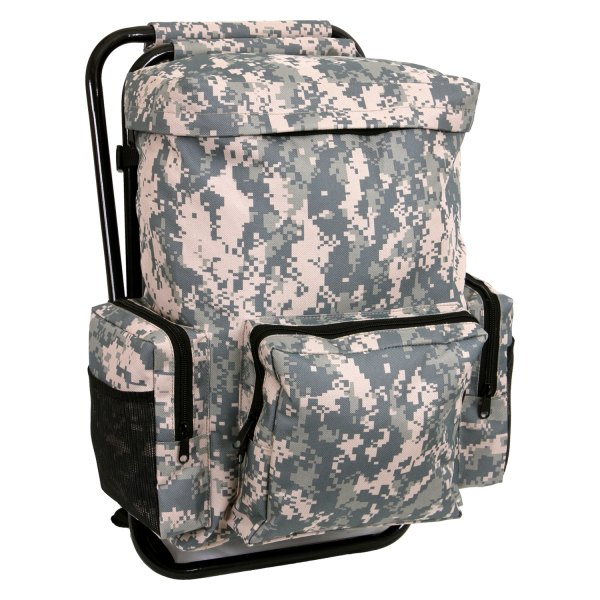 """Rothco® - 17.5"""" x 11"""" x 4"""" ACU Digital Camo Tactical Backpack with Stool Combo Pack"""