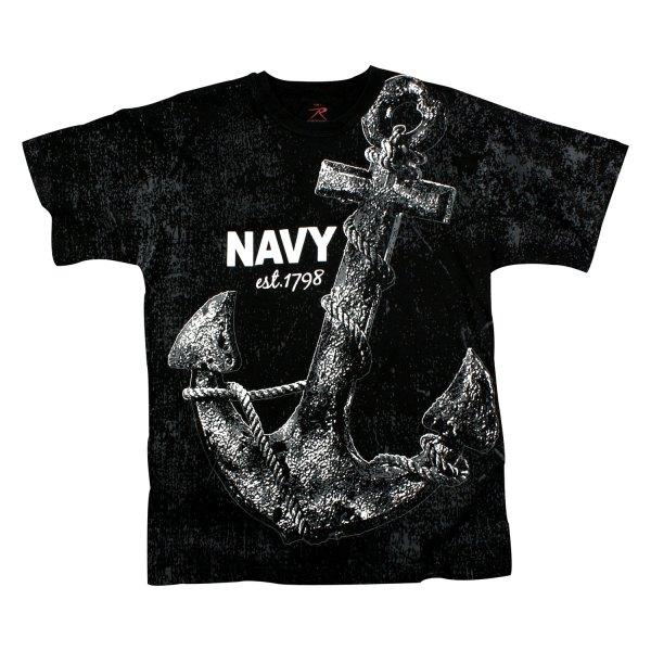 "Rothco® - ""Navy Anchor"" Vintage Medium Black Men's T-Shirt"
