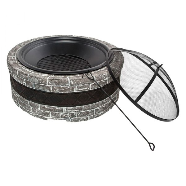 """Sun Joe® - Wood & Charcoal Gray Cast Stone Base 28"""" D Fire Pit with Dome Screen & Poker"""