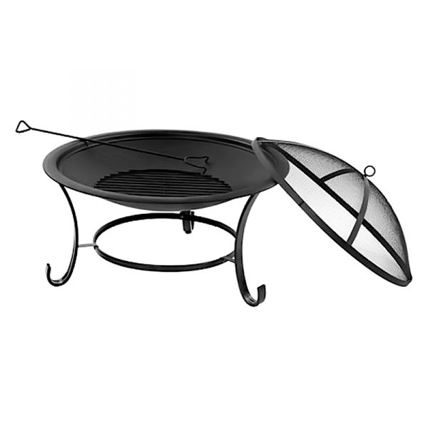 """Sun Joe® - Wood & Charcoal Round Steel 30"""" D Fire Pit with Dome Screen & Poker"""