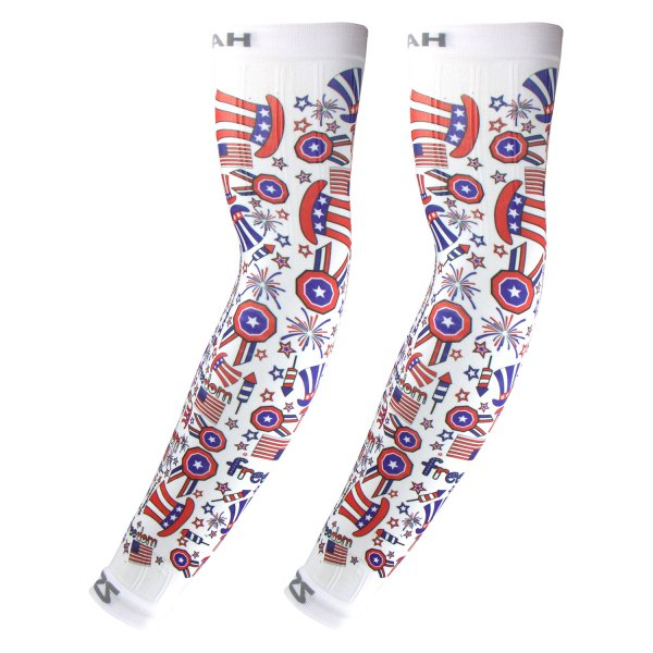 """Zensah® - """"Independence Doodle"""" Small/Medium White Arm Sleeves"""