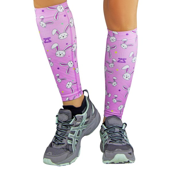 "Zensah® - ""Easter Bunnies"" Large/X-Large Lavender Compression Leg Sleeves"