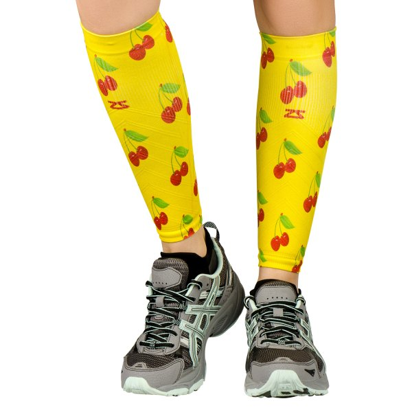 "Zensah® - ""Cherries"" X-Small/Small Yellow Compression Leg Sleeves"