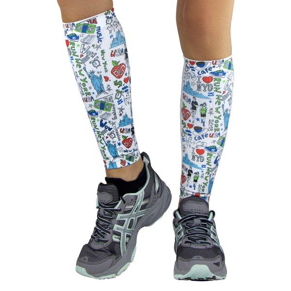 "Zensah® - ""New York Doodle"" Large/X-Large White Compression Leg Sleeves"
