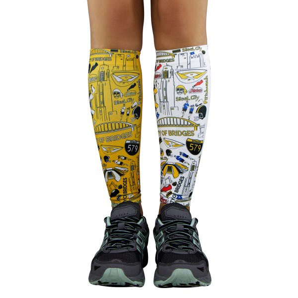 "Zensah® - ""Pittsburgh"" X-Small/Small White/Gold Compression Leg Sleeves"