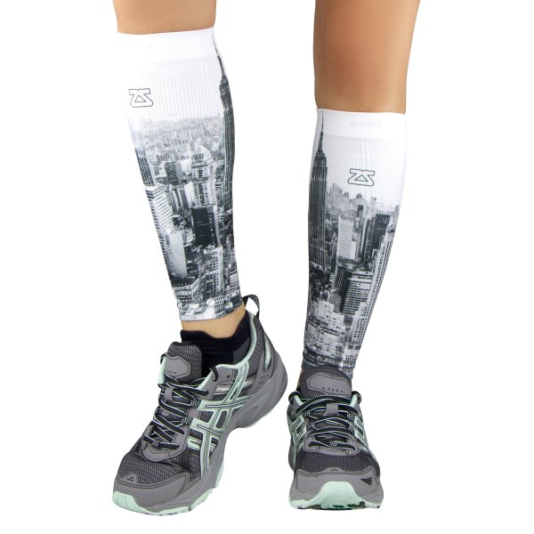 """Zensah® - """"NYC Empire State"""" X-Small/Small Grayscale Compression Leg Sleeves"""