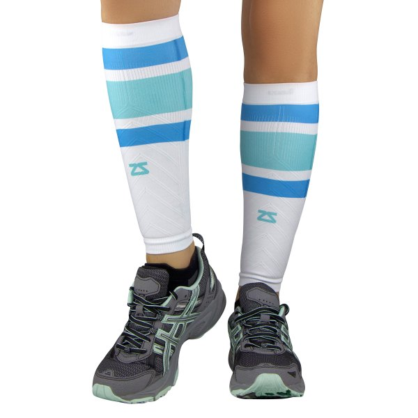 "Zensah® - ""Retro Wide Stripes"" Large/X-Large Blue Compression Leg Sleeves"